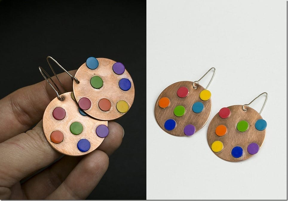 Polka Dot Copper Earrings For A Unique Ear Bling Game