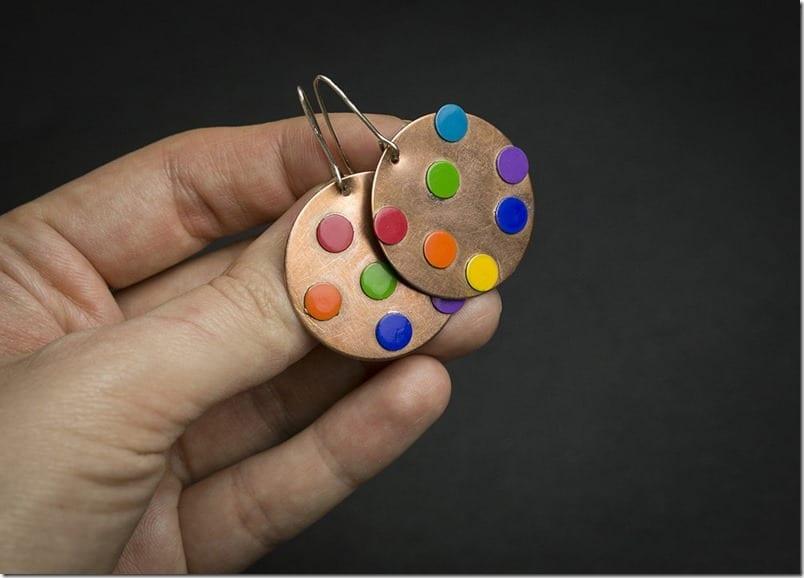 rainbow-polka-dot-copper-earrings