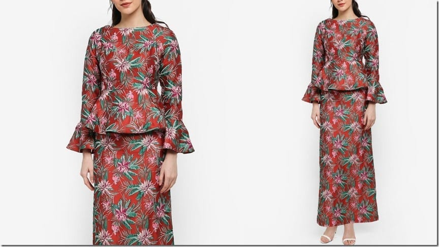 red-tropical-boatneck-peplum-kurung
