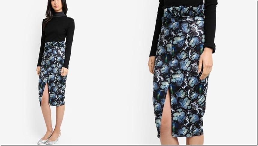 ruffle-waist-butterfly-pencil-skirt