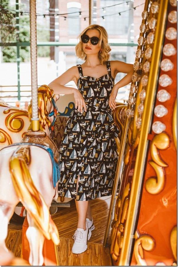 vintage-style-ship-print-midi-sundress