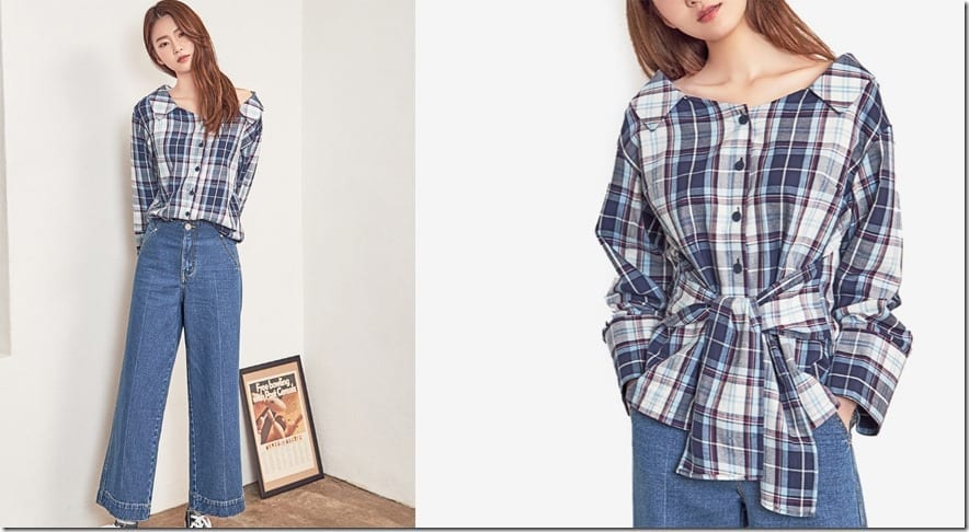wide-neck-collared-plaid-blouse