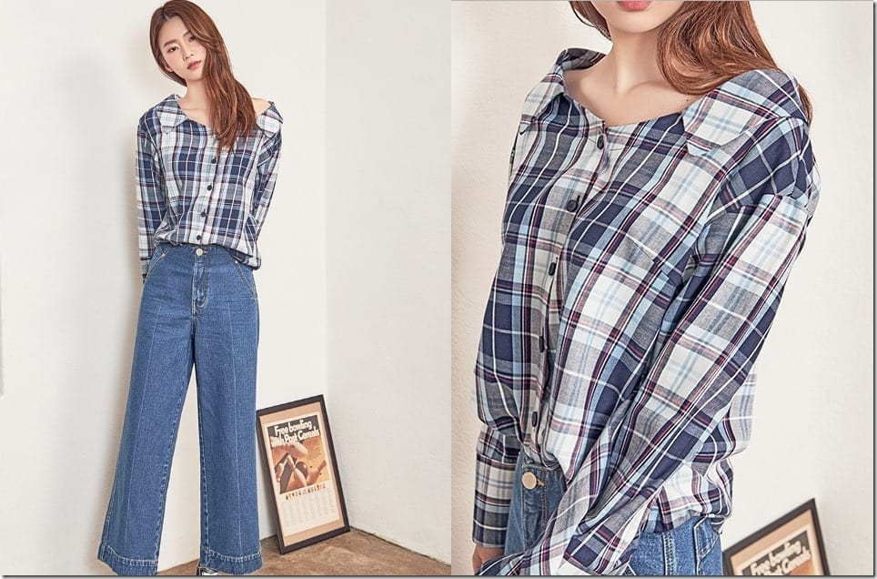 The Wide Neck Collared Style Blouse With Waist Tie