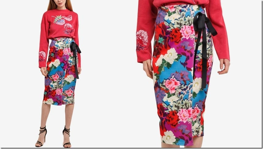 wrap-style-floral-midi-pencil-skirt