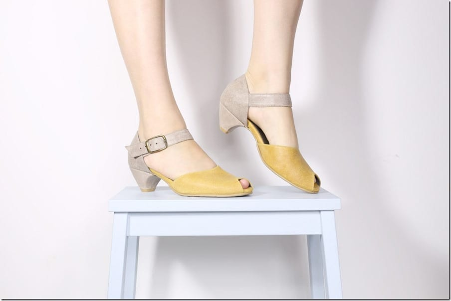 yellow-gray-kitten-heel-peep-toe-leather-sandals