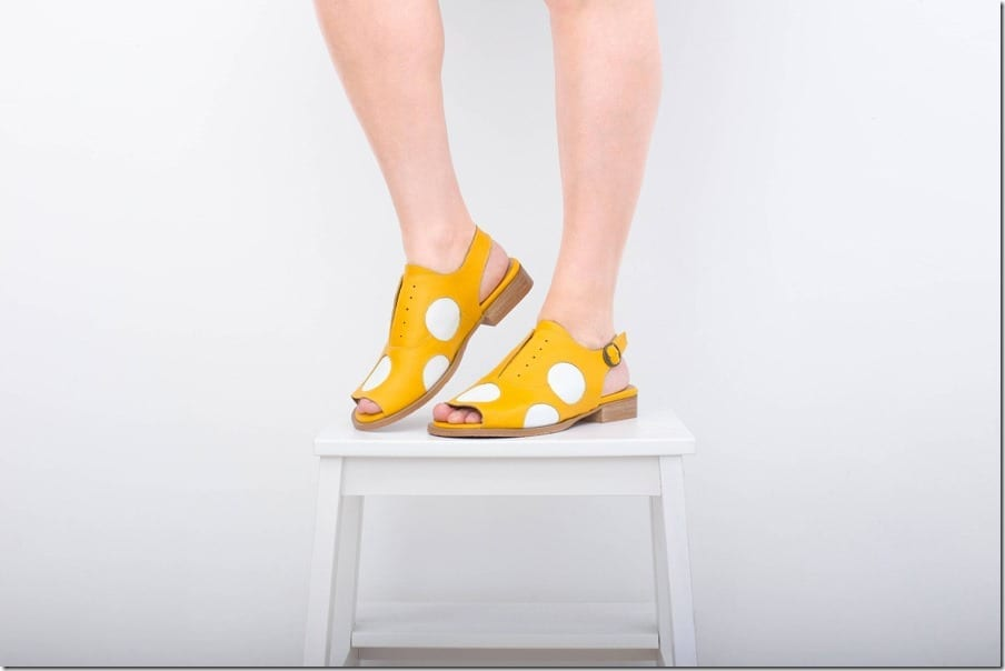 yellow-polka-dot-slingback-peep-toe-leather-sandals