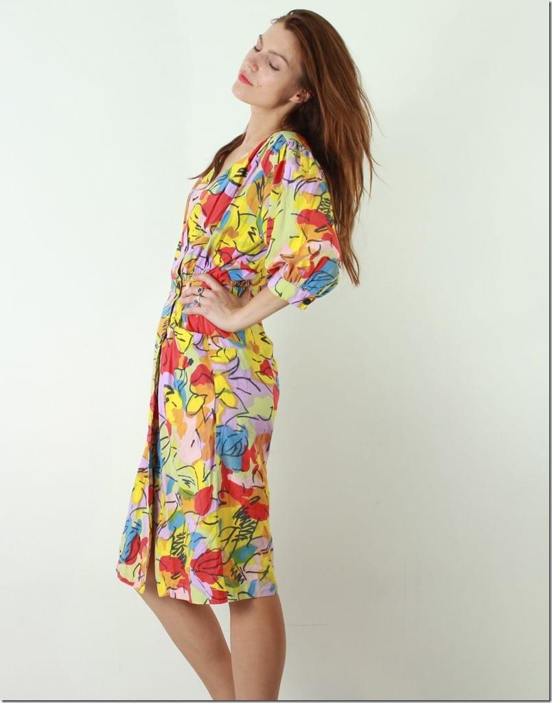 80s-floral-wrap-midi-dress