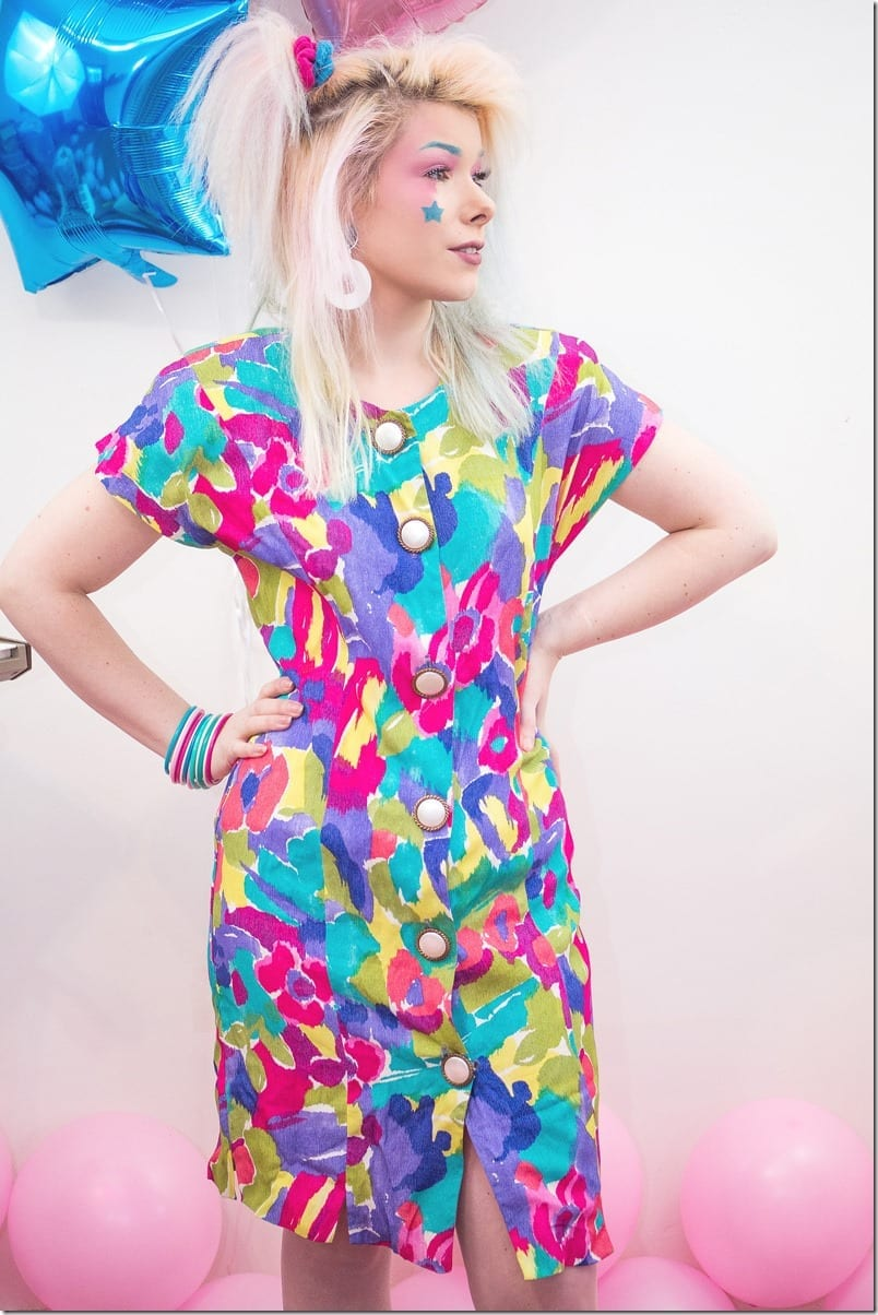 80s-rainbow-abstract-floral-dress