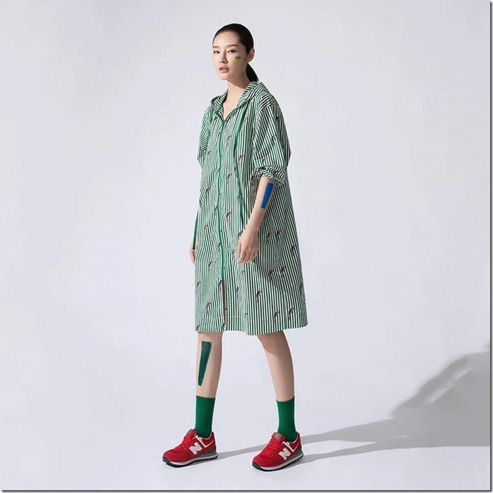 floral-stripe-hooded-zipper-dress