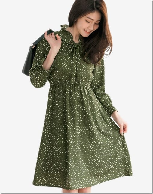 green-bow-neck-polka-dot-dress