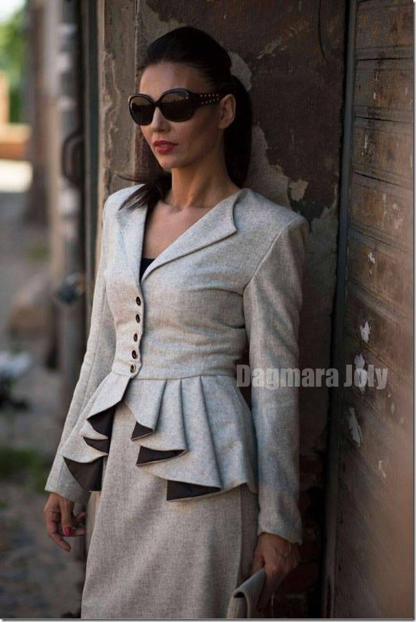 grey-buttoned-peplum-blazer