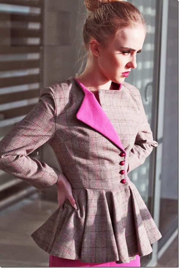 pink-plaid-buttoned-peplum-blazer