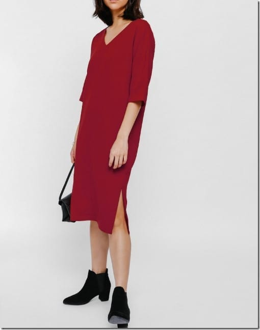 red-midi-v-neck-split-dress