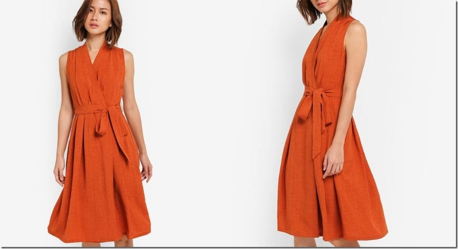 tangerine-wrap-midi-dress