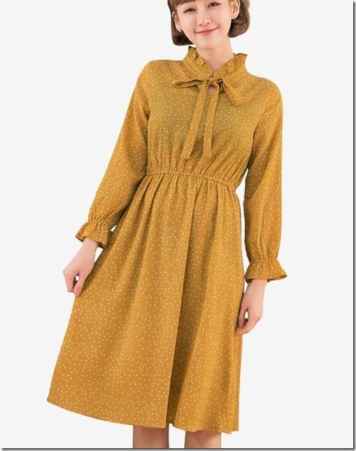 yellow-bow-neck-polka-dot-dress