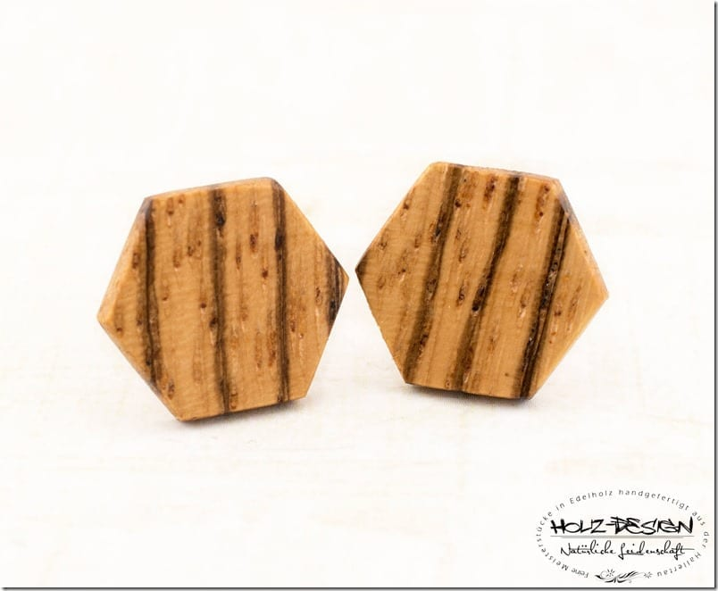 zebrano-wood-hexagon-stud-earrings