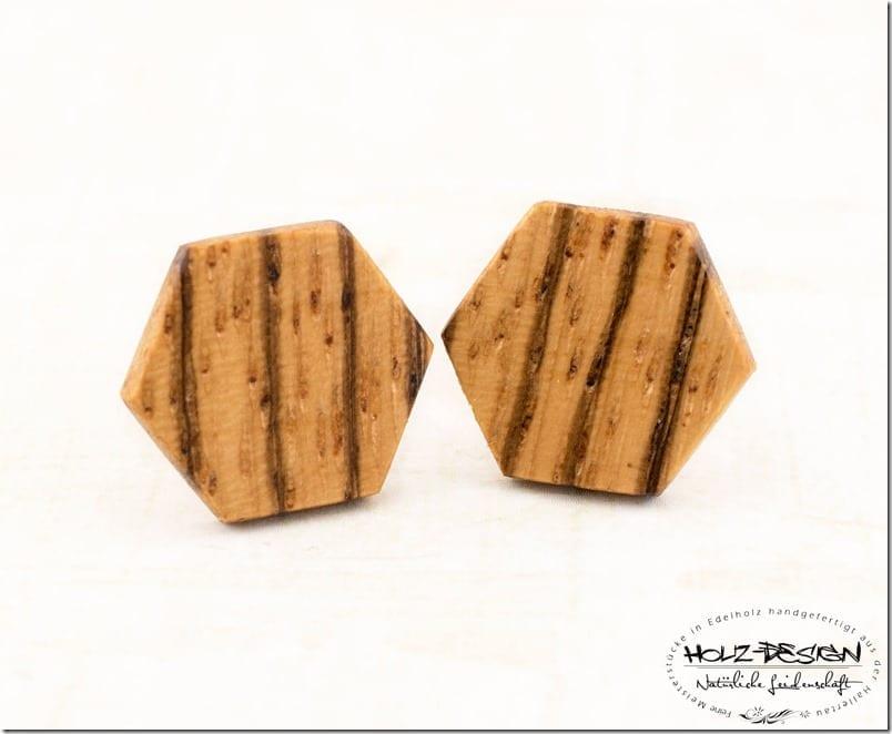 zebrano-wood-hexagon-stud-earrings