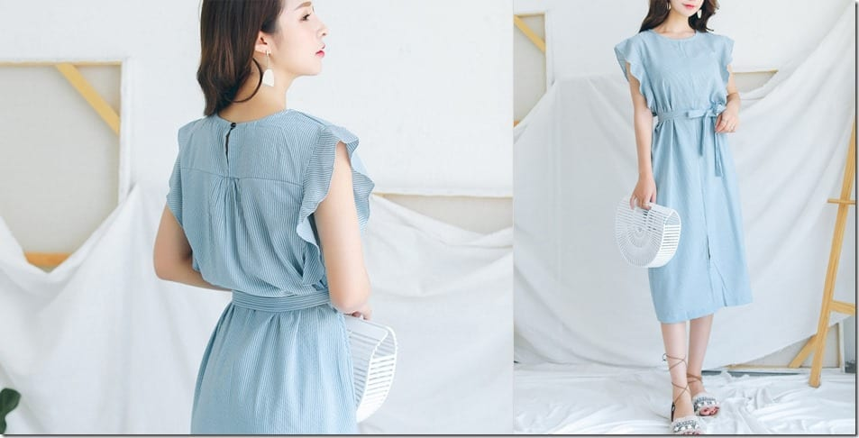 blue-pinstripe-frill-sleeve-midi-dress