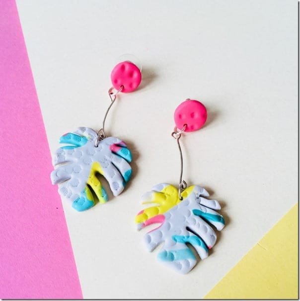 bold-pink-colorful-monstera-leaf-earrings