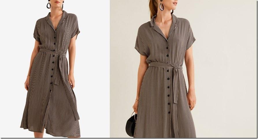 brown-stripe-flowy-midi-dress