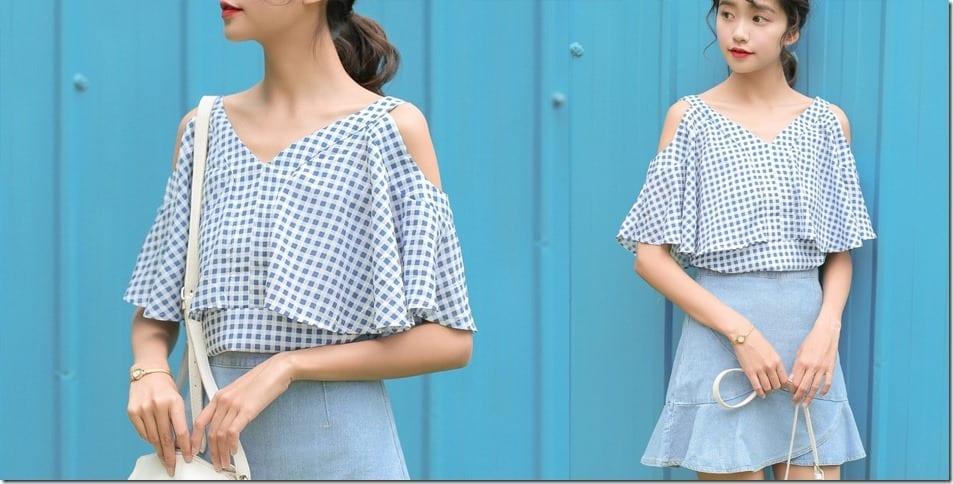 cold-shoulder-gingham-blouse