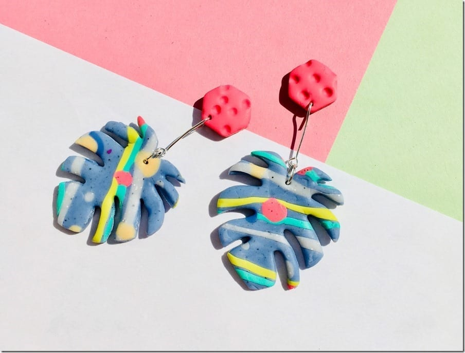Let Your Ears Radiate Colors With These Vivid Monstera Leaf Earrings