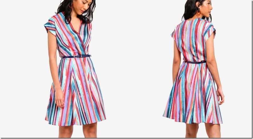cuffed-sleeve-stripe-wrap-dress