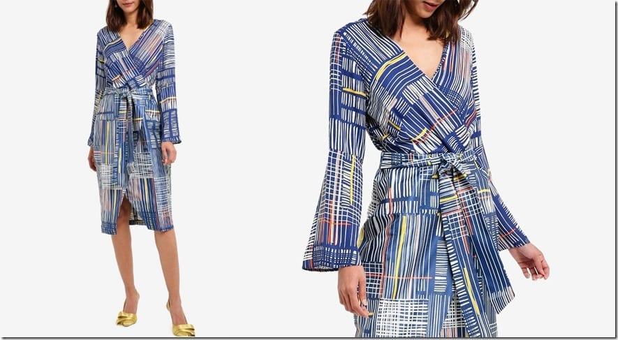fluted-sleeve-stripe-midi-wrap-dress