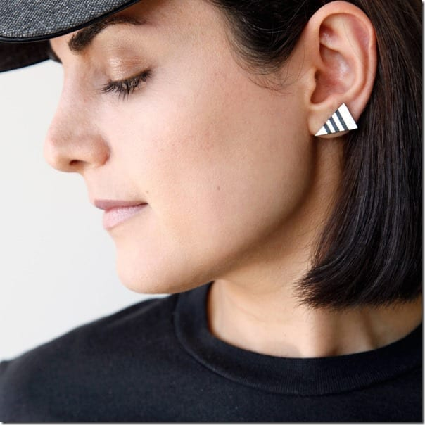 minimal-striped-triangle-leather-earrings