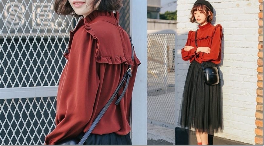red-frill-high-neck-blouse