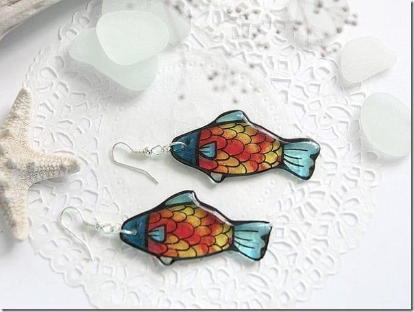 red-goldfish-resin-earrings
