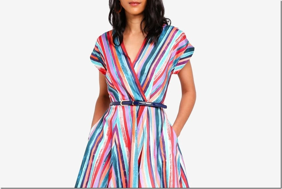 Stunning Wrap Dress Styles In Summery Abstract Stripes