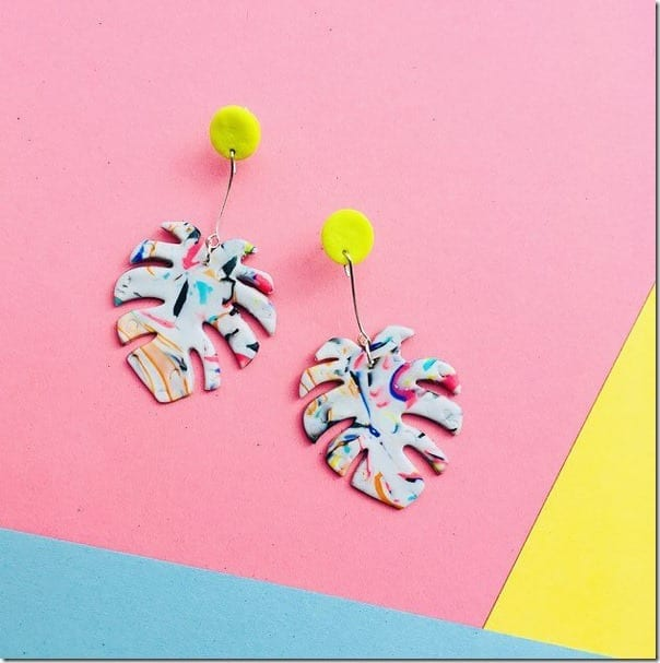 yellow-colorful-monstera-leaf-earrings