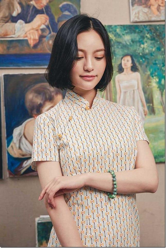 abstract-yellow-cotton-cheongsam-dress