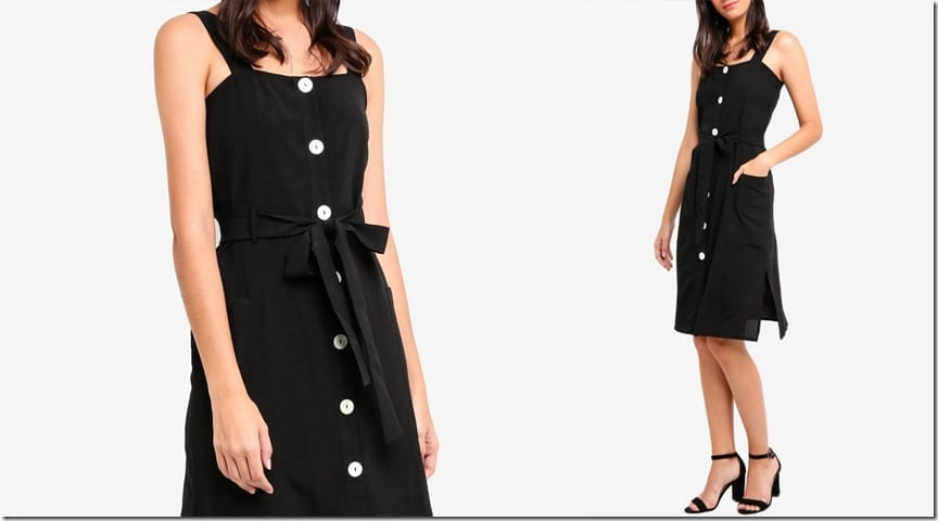 black-button-down-midi-dress