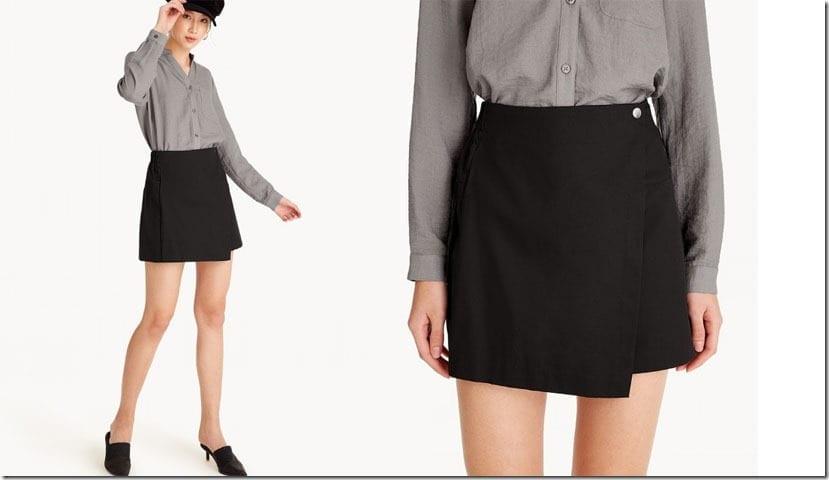 black-elastic-foldover-mini-skirt