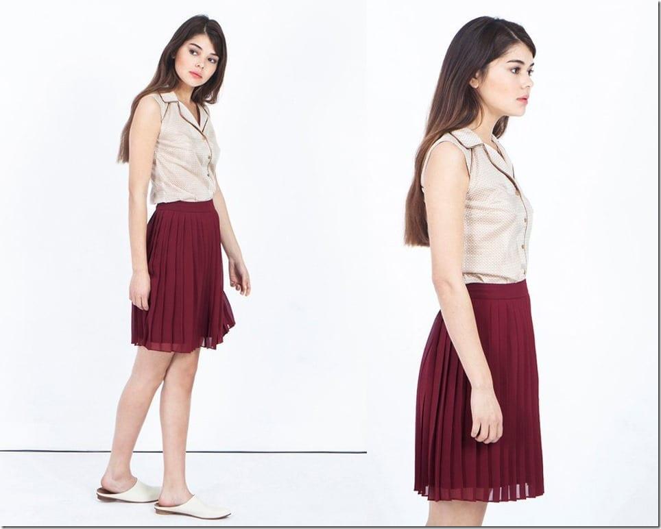 burgundy-short-pleated-skirt