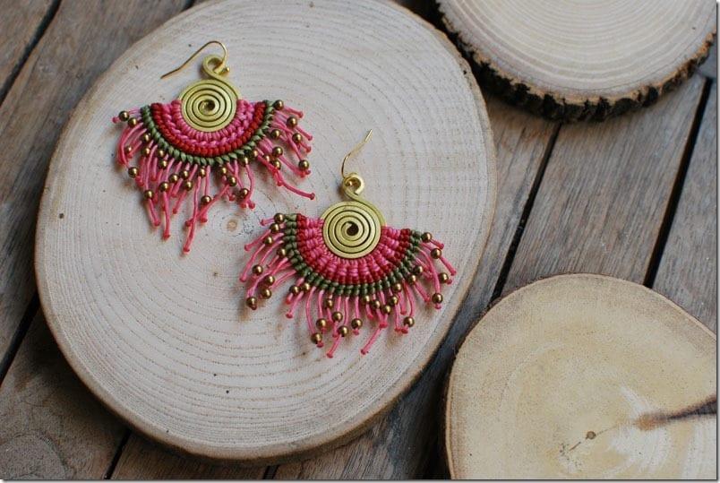 fuschia-boho-macrame-fan-earrings