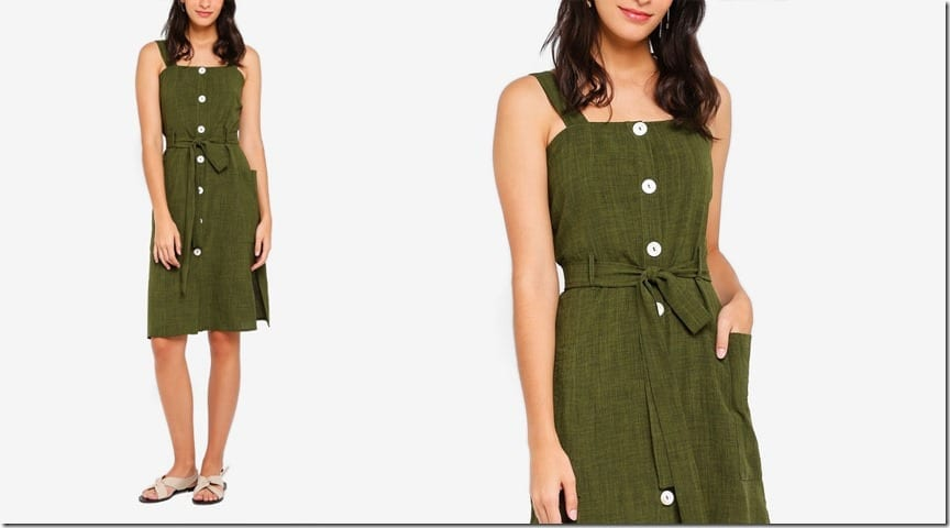 green-button-down-midi-dress