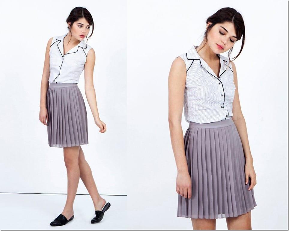light-grey-short-pleated-skirt