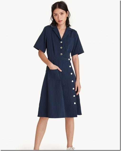 navy-side-button-midi-dress