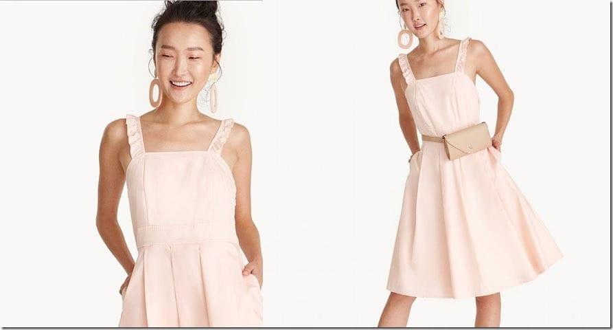 peach-ruffle-strap-square-neck-dress