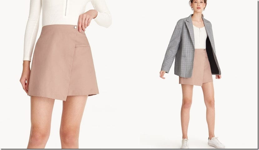 pink-elastic-foldover-mini-skirt
