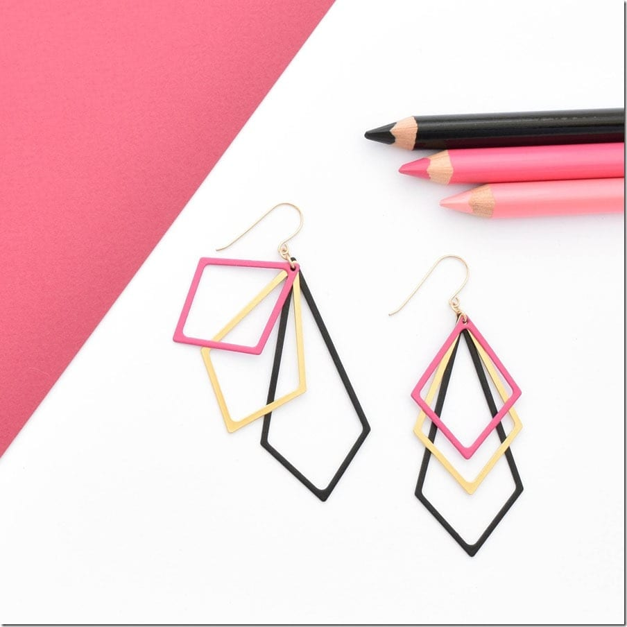 pink-layered-statement-geometric-earrings