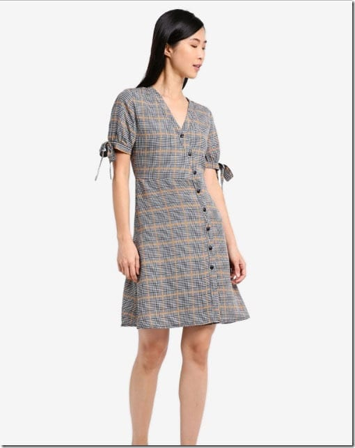 plaid-wrap-side-button-dress
