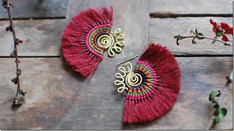 red-boho-macrame-fan-earrings