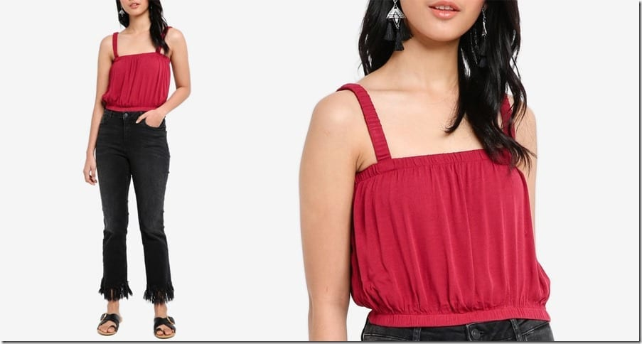 red-minimal-square-neck-top