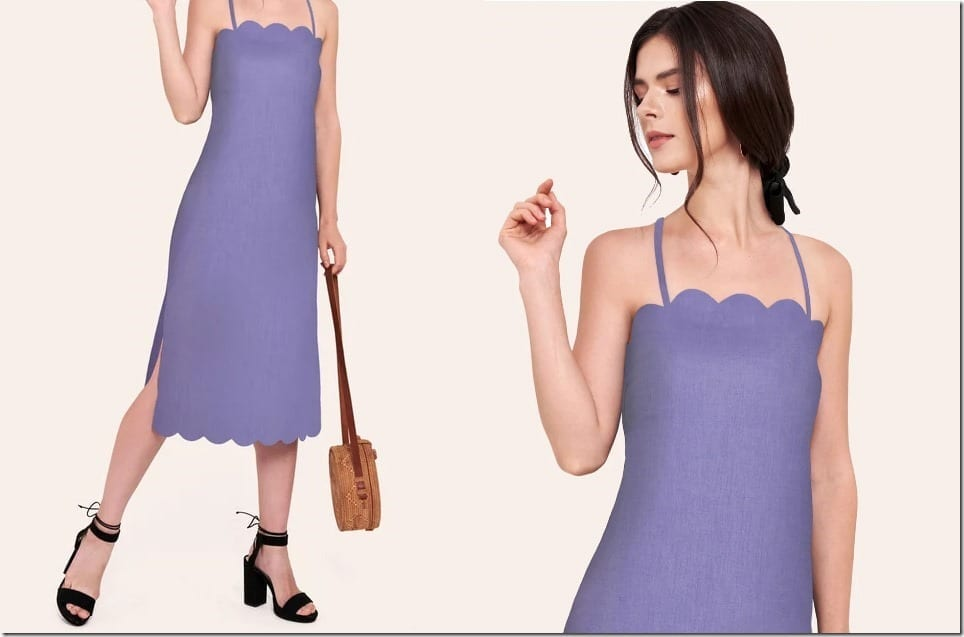 The Midi Dress With Charming Scallop Trim Edges