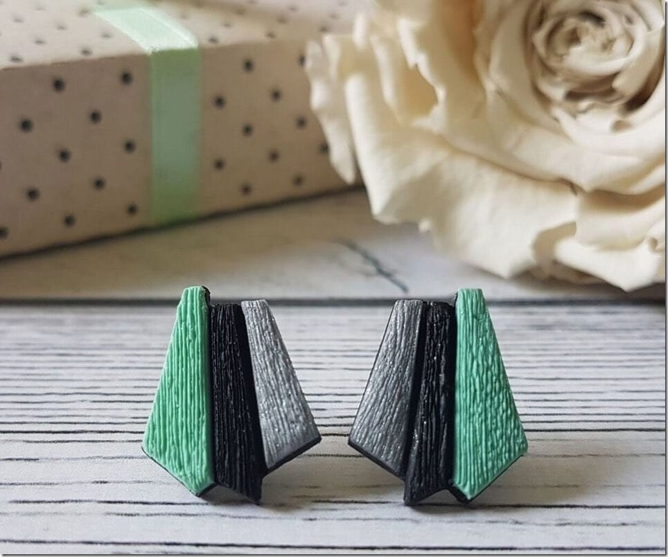 Colored Geometric Stud Earrings With A Textural Twist