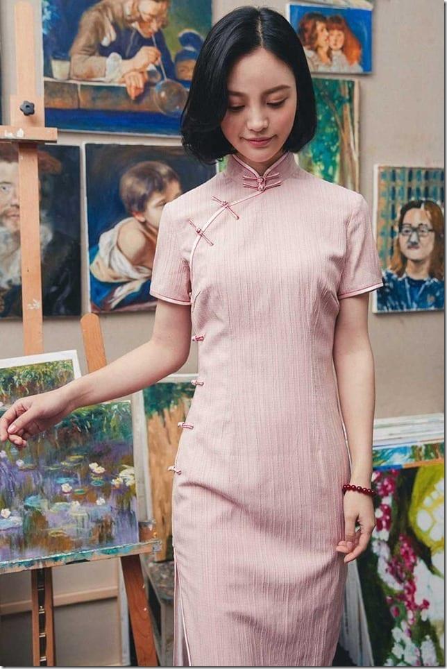 textured-pink-cotton-cheongsam-dress